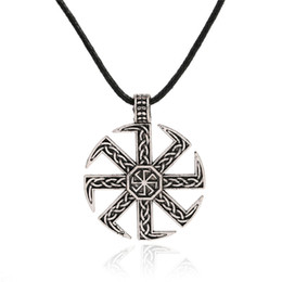 Wholesale 18k Gold Cord - Slavic Symbol Pagan Jewelry Sun Wheel Amulet Symbol Pagan Charms Wax Cord Rope Chain Necklaces Jewelry Making