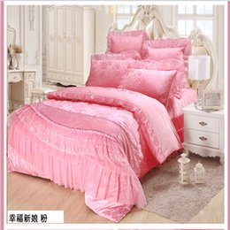 Wholesale Lace Cotton Twin Sheets - Wholesale-8 6 4 pcs red pink luxury bedding set queen King size wedding bed cotton bed sheets duvet cover set bedspreads