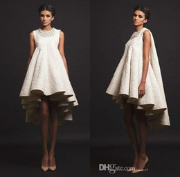 Wholesale Low Back Cocktail Dress - Krikor Jabotian 2017 Ivory Short Cocktail Party Formal Dresses Handmade Detail High Low Women's Fashion Occasion Prom Gowns