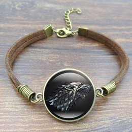 Wholesale Bracelet Wolf - Fashion Glass Cabochon Vintage Brown Rope Bracelet Movie Of Ice and Fire Game of Thrones Stark Wolf Charm Bracelet