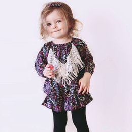 Wholesale Navy Tutus For Girls - Baby Girl Dress Long Sleeve Floral Dresses Lace Tassel Babies Toddler Clothing Dress For Girls Flowers Party Doll Dresses Navy A7219