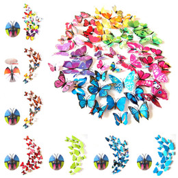Wholesale Classical Murals - Cinderella butterfly 3d butterfly decoration wall stickers butterfly pvc removable wall stickers butterflys in stock 200pcs IB064