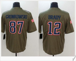 Wholesale Sport Toms - New #12 Tom Brady 87 Rob Gronkowski American College Football Uniforms Shirts Stitched Embroidery Salute to service Mens Sports Team Jerseys