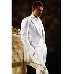 Faja de esmoquin online-Venta al por mayor- Traje de baile blanco apuesto Novio Tuxedos Padrinos de boda de los hombres del novio (Chaqueta + Pantalones + Faja + Corbata) K: 1091