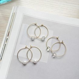 Wholesale Glass Imitation Pearl Beads Wholesale - Wholesale- Europe And The United States Fashion Simple Circle Earrings Imitation Pearl Transparent Glass Beads Studs Women Earrings Round