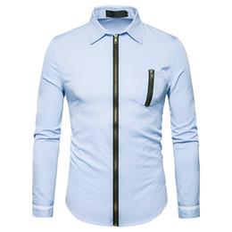 Wholesale Color Codes White - 2017 autumn new European code men zipper design lapel long sleeves shirt solid color Slim leisure