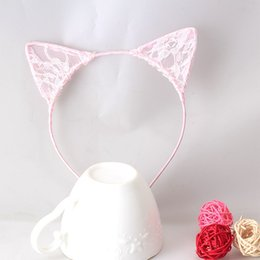 Wholesale Black Prom Hair - Girls Cat Ears Hair Accessories Headband Children Bbay Hair band Sexy Lace Ears Self Photo Prom Party Hair Band