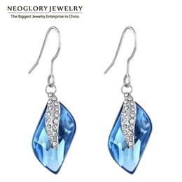 Wholesale Dangling Hoop - Neoglory Crystal Blue Drop Dangle Earrings Fashion Jewelry Birthday Gifts For Women 2017 New B1
