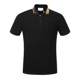 Wholesale European Clothing Brands - NEW Spring luxury Italy T-shirt Polo High street off whtie embroidery garter Snakes Little bee printing fashion clothing Brand polo shirt