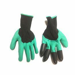 Водонепроницаемые садовые перчатки онлайн-Сад Джинн перчатки с кончиками пальцев когти зеленый копать и растения безопасная обрезка перчатки сад водонепроницаемый рыть перчатки