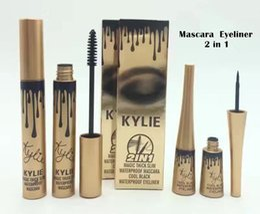 Wholesale Eyelashes Extension Mascara - kylie jenner cosmetics Makeup 3D Fiber EyeLashes Extension Mascara+ Gel Eyeliner 2 in 1 Sets Waterproof