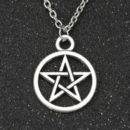 Wholesale Trapping Wholesalers - Wholesale-Supernatural Necklace Devil's Trap Pentagram Pentacle Vintage Retro Antique Silver Pendant Movie Jewelry Wholesale