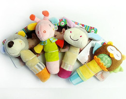 Wholesale Wholesale Deer Rattle - 30pcs lot Newest cute animal baby shaking stick rattle toy BB device owl Sheep Bear donkey deer for child gift