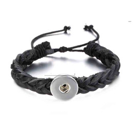 Wholesale Leather Bracelet For Hands - High quality 167 hand woven Original Genuine Leather Retro fashion Bracelet Snap Button Jewelry Charm Jewelry For Women(fit 18mm button)