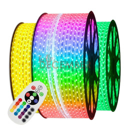 Wholesale Led Strip Lights Ip68 - Dimmable SMD5050 RGB LED Strip Lights IP68 Waterproof LED Strips Super Bright LED Neon Sign Light Strip AC 110-240V
