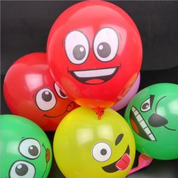 Wholesale Inflatable Air For Balloons - 12 Inch Inflatable Balls For Holidays Multicolor Cartoon Face Expression Latex Party Balloons Random Delivery Air Balloons