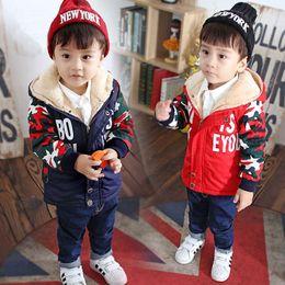 Wholesale Newborn Baby Winter Jacket - Baby Boy Hooded Jackets Cotton Letter Newborns Coats Fashion Warm Outerwear Children's Clothing Winter Child Boys Clothes 2017
