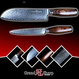 Wholesale Utility Knife Cooking - Damascus Knife Set 2 pcs Damascus Japanese Stainless Steel VG10 Santoku Utility Knives Cooking Kitchen Chef Knife Pro Tools NEW