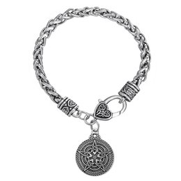 Wholesale Wholesale Gothic Charms - Zinc Alloy Gothic Style Religious Pendant Wheat Chain Bracelet Stainless Steel Bracelet For Men or Women Jewelry