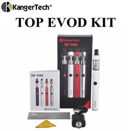 Wholesale Top Coil Clearomizer - Authentic Kanger Top Evod Starter Kit 650mah Battery 1.7ml Top Refilling Toptank Evod Clearomizer VOCC-T Coils Head Vaporizer Topevod Kit