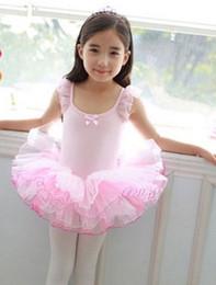 Wholesale Dance Performance Clothes Kids - Girls ballet dance dress children ballet dance dress kids Performance clothing girls lace fly sleeve balletes tutu dress T4714