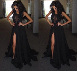 Wholesale Islamic Pictures - Arabic Islamic Muslim Black Prom Dresses 2017 High Side Slit Scoop Sleeveless Floor Length Zipper Back Evening Party Gowns