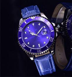Wholesale Elegant Leather Watch - Elegant Luxury brand ladies designer blue dress watches women steel strap calendar waterproof ultra thin Fashion leather female clock