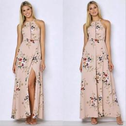 Wholesale Ladies Halter Dresses - Robe Longue Vestido 2017 Fashion Ladies Long Summer Dress Floral Printed Sleeveless Sexy Halter Boho Women Maxi Dresses
