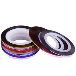 Wholesale Uv Decals - 10 Mix Color Rolls Striping Tape Metallic Yarn Line Nail Art Decoration UV Gel Tips Line Sticker DIY Decal