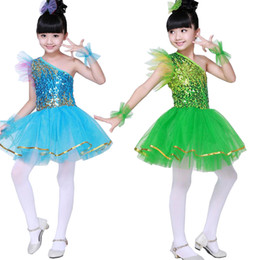 Wholesale Latino Dresses - New Arrival Kids Sequined Dancing Stage wear Dress Children Girls Party allroom Latin Salsa Dancewear Costume Vestido Baile Latino