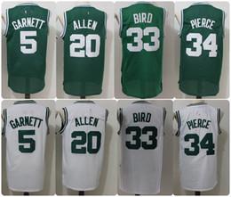 Wholesale Green Ray - Throwback Basketball Jerseys 5 Kevin Garnett 20 Ray Allen 34 Paul Pierce 33 Larry Bird Retro Green Shirts Cheap Stitched Jersey S-XXL