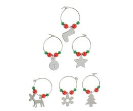 Wholesale Beer Charm Silver - Christmas Wine Glass Charms Christmas Decoration for Drinking Glasses Cups Ring Snowman Snowflask Beer Stock Shape Table Decoration