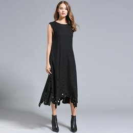 Wholesale Women Elegant Woolen Dresses - Autumn winter women Woolen dresses Europe style hollow out sleeveless elegant fashion long sleeve plus size two colors wholesale customized