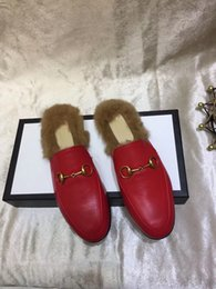 Wholesale Women Cow Slippers - 2017.9.26 03 new free shipping hot fashion designer cow leather inside come whith tags top quality women Winter slippers 35-40
