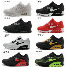 Wholesale Cushions Yellow - Mens Sneakers Shoes classic 90 Men and women Running Shoes Black Red White Sports Trainer Air Cushion Surface Breathable Sports Shoes 36-45