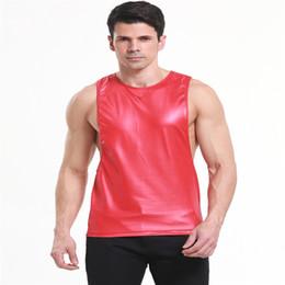 Wholesale Leather Tank Top Men - Wholesale- Men's Fashion Sexy Faux Leather Vest,Comfortable Round Neck Sleeveless Hot Hunk Nightclub Tank Tops,Men's Vest