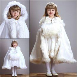 Wholesale White Fur Cloak Wedding - Cute Winter Wedding Coat Princess Flower Grils Bridal Cape Ivory Satin with Fur Trim Wedding Cloak Vintage Christmas Accessories