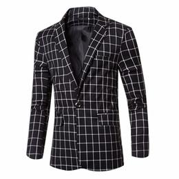 Wholesale Denim Blazers For Men - Free Shipping Top Quality Men Business Slim Suits Single Button Plaid Design Blazer Jacket Fashion for Men Suit Casual Jacket