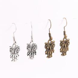 Wholesale Owl Charms Enamel - 20pcs lot Metal Alloy Zinc Antique Bronze Silver Animal Owl Pendant Charm Drop Earing Diy Jewelry Making C0690