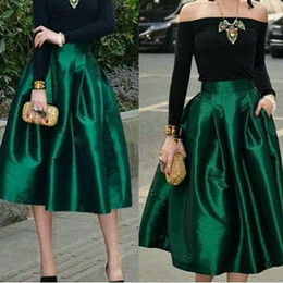 Wholesale Tea Length Skirt Top - Dark Green Under Midi Skirts For Women High Waisted Ruched Satin Tea Length Petite Cocktail Party Skirts Top Quality Women Formal Outfits