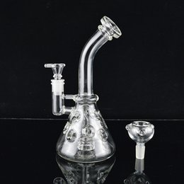 Wholesale Cone Pipe - Recycler Oil Rigs Fab Egg Glass Bongs Showerhead to Swiss Cheese Water Pipe Cone Base Bubblers Hookahs Bent Neck Thick Dab Beaker Pipes