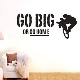 Wholesale Growth Green - Go Big Or Go Home Sports Wall Sticker Removable Vinyl Decal DIY Home Decor Bicycle Exercise Motivation Wall Stickers