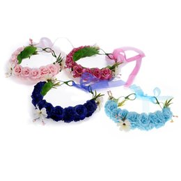 Wholesale Mexican Headbands Flower - 4PCS Colorful Plastic Flower Headbands Wreath Bezel Flowers Crown Headpiece Kids Girls Hair Accessories Wholesale JHF0021