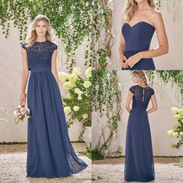 Wholesale Lace Bridesmaid Dresses Jacket - 2017 Navy Blue Long Country Style Bridesmaid Dresses with Lace Jacket Cap Sleeves Crew Neck Maid of the Honor Dresses with Ruched Belt