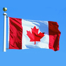 Wholesale Red Flag Canada - Canada Flag Decoration Flag Red Maple Leaf Decorations for Party Polyester Hanging Fly National Banner Polyester Canadian Banner