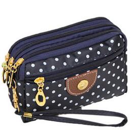 Wholesale Phone Case Wristlet - Wholesale- 6 Colors Polka Dots Print Women Coin Purse Clutch Wristlet Wallet Bag Phone Key Case Makeup Bag Women credit card holder Tote