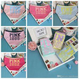Wholesale Clear Panties - 2017 Women PINK Letter Printed Stripe Briefs Candy Color PINK 1986 Panties Women Brief Casual Cotton Underwear Girls Underpants Panties H96