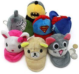 Wholesale Purses Etc - Wholesale- Super HOT Kawaii 6Cartoons Bear Etc. Plush 12CM Coin BAG Case ; Hat Shape Key Chain Pendant BAG ; Pocket Coin BAG Purse Wallet