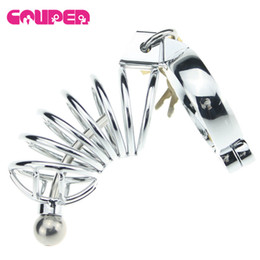 Wholesale Sex Toys Penis Locks - Cock Lock Stainless Steel Lockable Penis Cage Penis Cock Ring Sleeve Male Chastity Device Cage Belt Cockring Sex Toys For Men