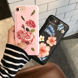 Wholesale Vintage Flower Iphone Cases - Vintage Embroidery Rose Phone Flower Case For iPhone 7 6 6s Plus Original Ultra Thin PC Hard Back Cover Fundas Korea Style